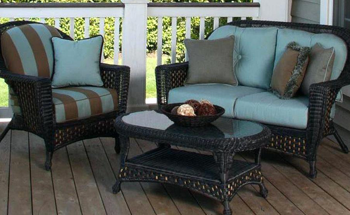 blue and brown striped outdoor cushion set