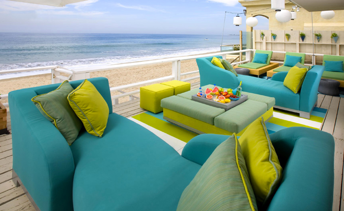 blue and green outdoor cushions